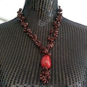 Jewelry - Tagua and Coffee beans Crochet Ecofriendl Necklace